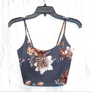 Windsor gray floral spaghetti strap crop top